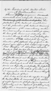Lincoln, Abraham. Proclamation Calling for Volunteers May 3, 1861. Handwritten. Available at Abraham Lincoln Papers at the Library of Congress, Manuscript Division (Washington, D.C.: American Memory Project, [2000-02]), http://memory.loc.gov/ammem/alhtml/alhome.html, accessed May 20, 2015.