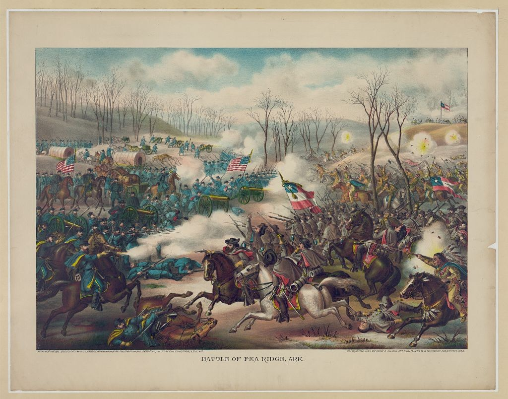 "Kurz & Allison. ""Battle of Pea Ridge, Ark.""  Chromolithographs--Color--1880-1890. Library of Congress Prints and Photographs Online Catalog. http://hdl.loc.gov/loc.pnp/pga.01888 (accessed May 20, 2015)."