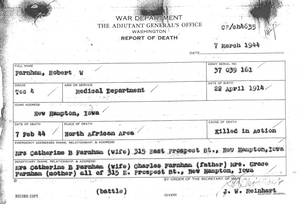 Farnham, Robert W. Report of Death Edited