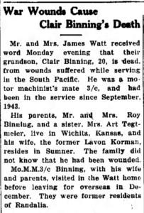 War Wounds Cause Clair Binning's Death