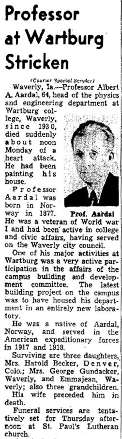 Aardal, Albert A. Obituary