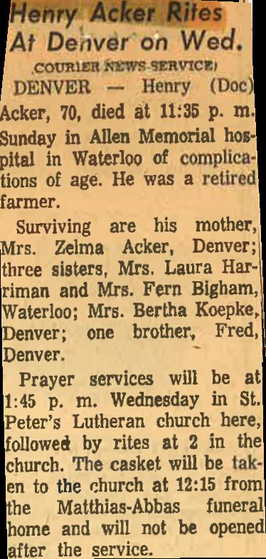 Acker Henry G. Obituary