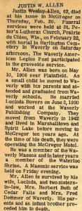 Allen, Justin Wesley Obituary