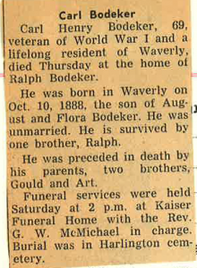 Bodeker, Carl Obituary